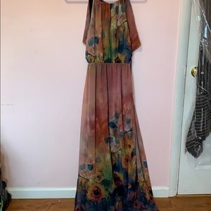 Anthropologie open back maxi dress size large